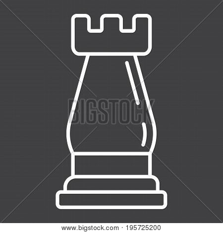 Strategic plan line icon, business and rook chess, vector graphics, a linear pattern on a black background, eps 10.