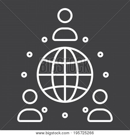 Global partnership line icon, business and international, vector graphics, a linear pattern on a black background, eps 10.