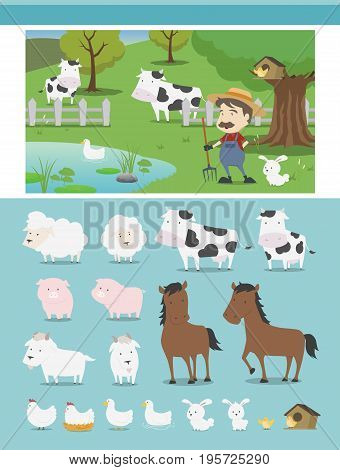 Farm animal characters in EPS format, the vector is 100% editable.