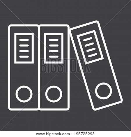 Binders line icon, business and folder, vector graphics, a linear pattern on a black background, eps 10.