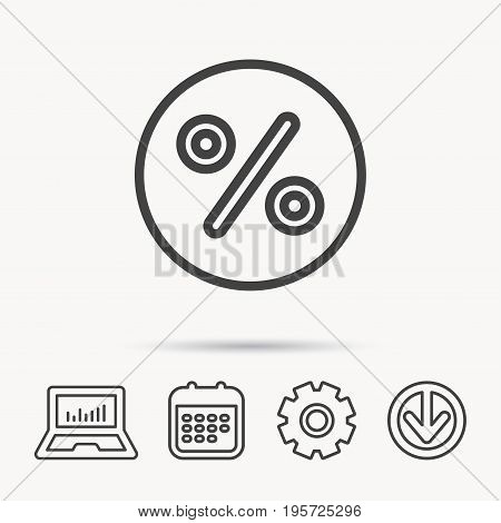 Discount percent icon. Sale sign. Special offer symbol. Notebook, Calendar and Cogwheel signs. Download arrow web icon. Vector