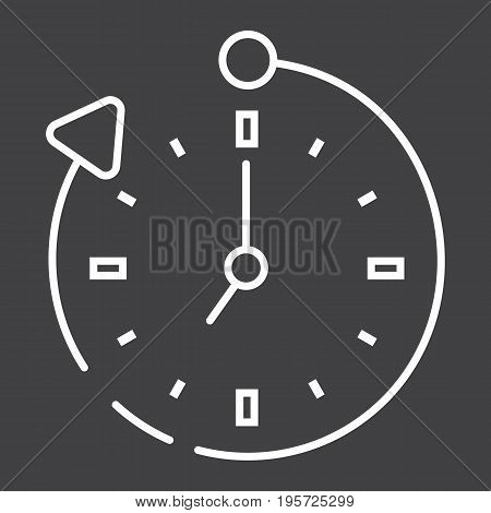 Overtime line icon, business and clock, vector graphics, a linear pattern on a black background, eps 10.