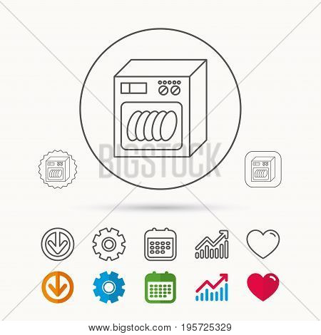 Dishwasher icon. Kitchen appliance sign. Calendar, Graph chart and Cogwheel signs. Download and Heart love linear web icons. Vector