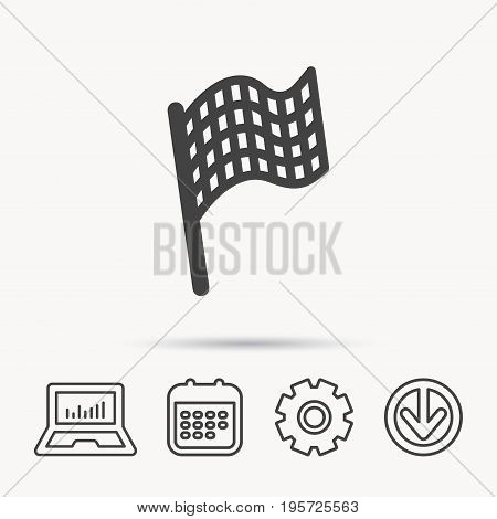 Finish flag icon. Start race sign. Notebook, Calendar and Cogwheel signs. Download arrow web icon. Vector