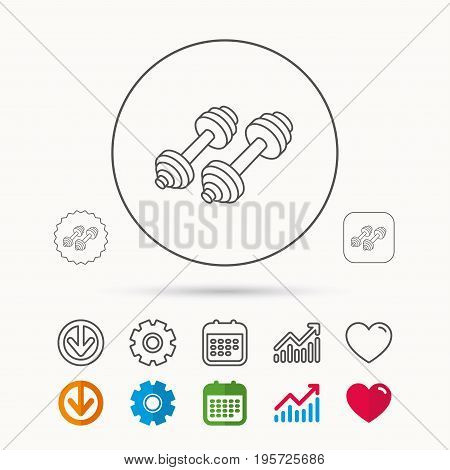 Dumbbell icon. Fitness sport or gym sign. Bodybuilding workout equipment symbol. Calendar, Graph chart and Cogwheel signs. Download and Heart love linear web icons. Vector