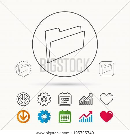 Folder icon. Accounting audit sign. Calendar, Graph chart and Cogwheel signs. Download and Heart love linear web icons. Vector