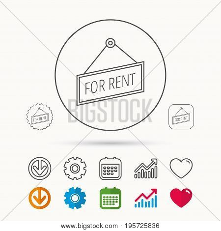 For rent icon. Advertising banner tag sign. Calendar, Graph chart and Cogwheel signs. Download and Heart love linear web icons. Vector