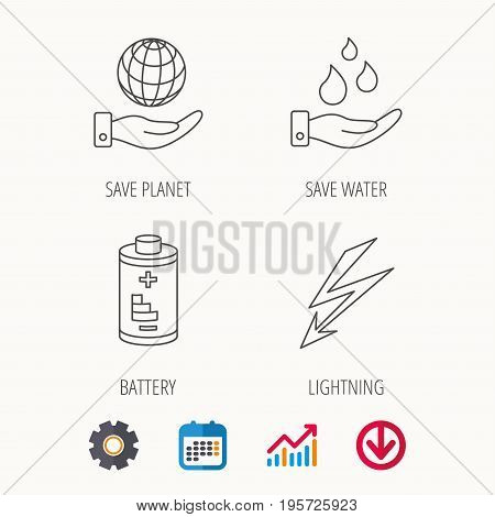 Save planet, water and battery icons. Lightning linear sign. Calendar, Graph chart and Cogwheel signs. Download colored web icon. Vector