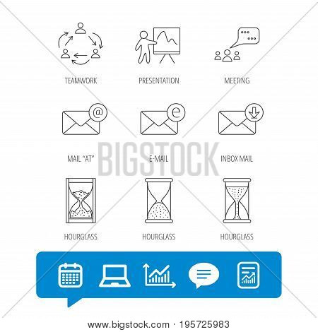 Teamwork, presentation and meeting chat bubbles icons. E-mail inbox, hourglass linear signs. Report file, Graph chart and Chat speech bubble signs. Laptop and Calendar web icons. Vector