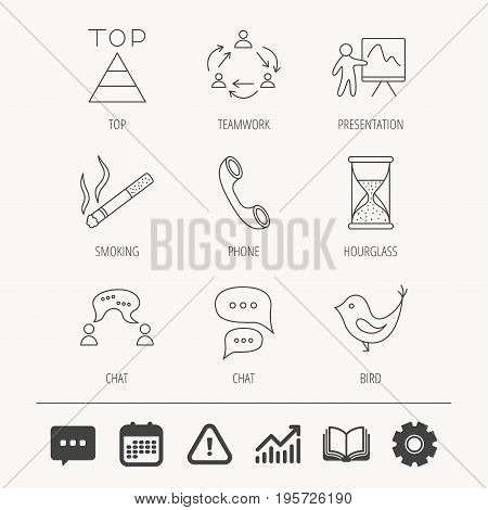 Teamwork, presentation and phone call icons. Chat speech bubble, hourglass and bird linear signs. Smoking, pyramid icons. Education book, Graph chart and Chat signs. Vector