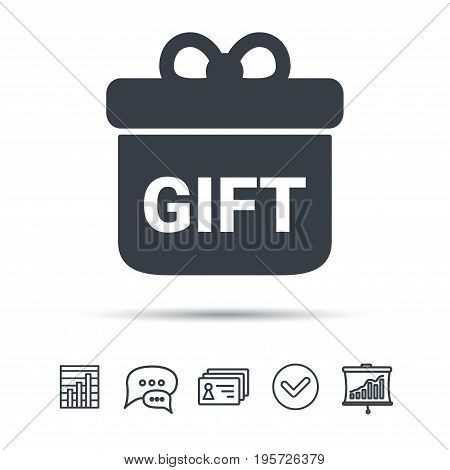 Gift icon. Present box with bow symbol. Chat speech bubble, chart and presentation signs. Contacts and tick web icons. Vector