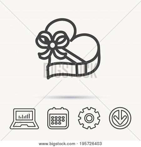 Love gift box icon. Heart with bow sign. Notebook, Calendar and Cogwheel signs. Download arrow web icon. Vector