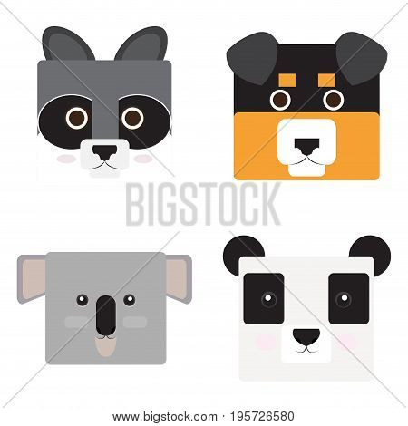 Set of animal faces, Shaped style, Vector illustration