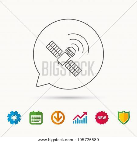 GPS icon. Satellite navigation sign. Calendar, Graph chart and Cogwheel signs. Download and Shield web icons. Vector