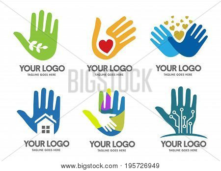 natural hand health green logo,Hands love logo, charity hand logo