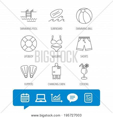 Surfboard, swimming pool and trunks icons. Beach ball, lingerie and shorts linear signs. Lifebuoy, cocktail and changing cabin icons. Report file, Graph chart and Chat speech bubble signs. Vector