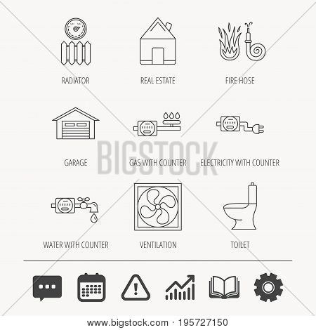Ventilation, garage and heat radiator icons. Gas, water and electricity counter linear signs. Real estate, toilet and fire hose icons. Education book, Graph chart and Chat signs. Vector