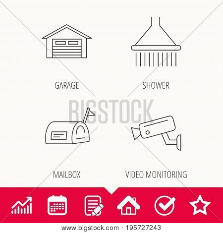 Mailbox, video monitoring and garage icons. Shower linear sign. Edit document, Calendar and Graph chart signs. Star, Check and House web icons. Vector