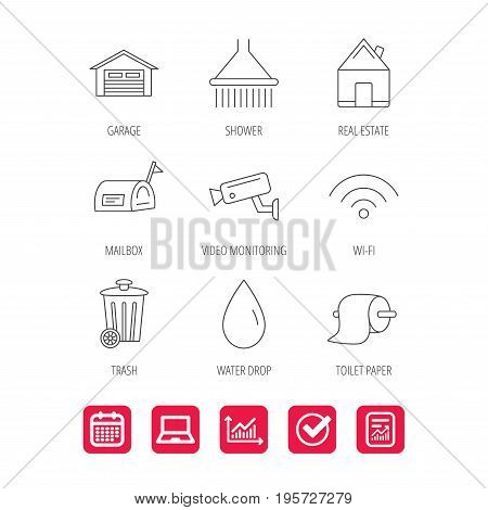 Wi-fi, video monitoring and real estate icons. Toilet paper, shower and water drop linear signs. Trash, garage flat line icons. Report document, Graph chart and Calendar signs. Vector