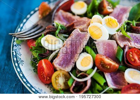 Tuna Salad With Tomatoes, Boiled Eggs, Onion, Anchovy And Lettuce