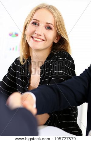 Beautiful smiling cheerful woman in office portrait. White collar at workplace mediation offer job participate strike arm bargain client visit modern lifestyle finance agreement concept