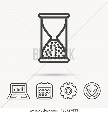 Hourglass icon. Sand end time sign. Hour ends symbol. Notebook, Calendar and Cogwheel signs. Download arrow web icon. Vector