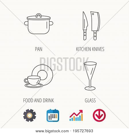 Kitchen knives, glass and pan icons. Food and drink linear sign. Calendar, Graph chart and Cogwheel signs. Download colored web icon. Vector