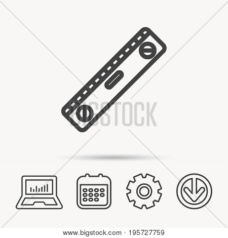 Level tool icon. Horizontal measurement sign. Notebook, Calendar and Cogwheel signs. Download arrow web icon. Vector