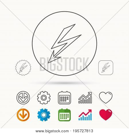 Lightening bolt icon. Power supply sign. Electricity symbol. Calendar, Graph chart and Cogwheel signs. Download and Heart love linear web icons. Vector