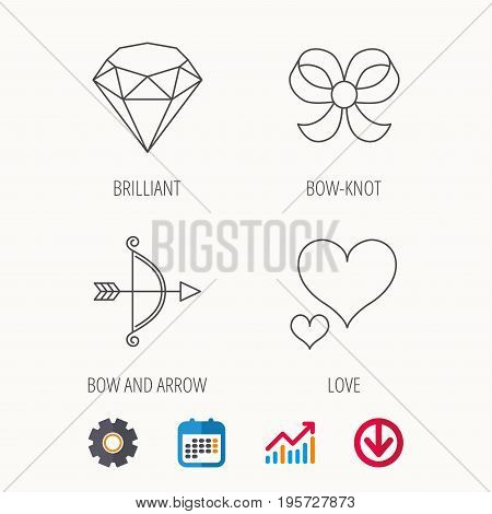 Love heart, brilliant and bow-knot icons. Bow and arrow linear signs. Calendar, Graph chart and Cogwheel signs. Download colored web icon. Vector