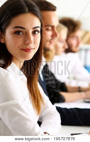 Beautiful Smiling Woman Portrait With Group Of People
