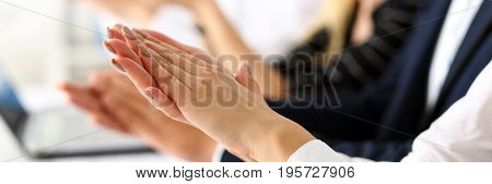 Group Of People Clap Their Arm In Row