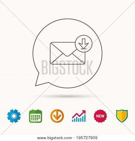Mail inbox icon. Email message sign. Download arrow symbol. Calendar, Graph chart and Cogwheel signs. Download and Shield web icons. Vector