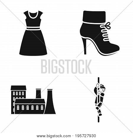 stewing, profession, textiles and other  icon in black style.fireman, man, rope, icons in set collection