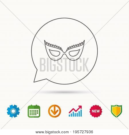 Festive mask icon. Masquerade carnival sign. Anonymous symbol. Calendar, Graph chart and Cogwheel signs. Download and Shield web icons. Vector