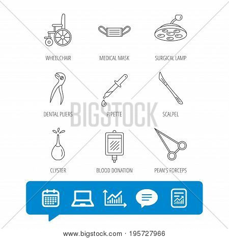Medical mask, scalpel and dental pliers icons. Pipette, surgical lamp and wheelchair linear signs. Blood donation, clyster and drop flat line icons. Vector