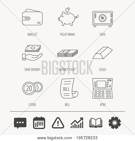 Piggy bank, cash money and wallet icons. Safe box, gold bar and dollar usd linear signs. Bill, coins and ATM icons. Education book, Graph chart and Chat signs. Vector