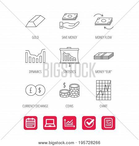Banking, cash money and statistics icons. Money flow, gold bar and dollar usd linear signs. Dynamics chart, coins and savings icons. Report document, Graph chart and Calendar signs. Vector