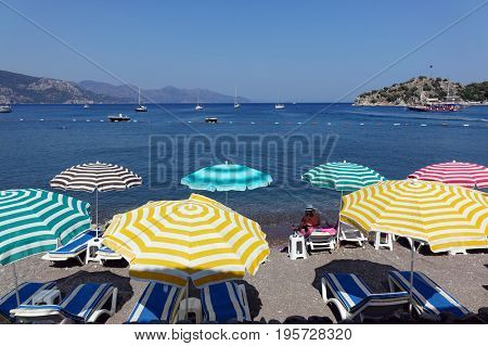 Umbrellas on the sea beach