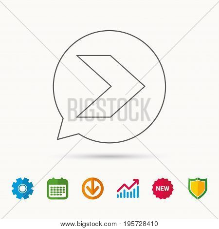 Next arrow icon. Forward sign. Right direction symbol. Calendar, Graph chart and Cogwheel signs. Download and Shield web icons. Vector