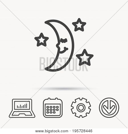 Night or sleep icon. Moon and stars sign. Crescent astronomy symbol. Notebook, Calendar and Cogwheel signs. Download arrow web icon. Vector