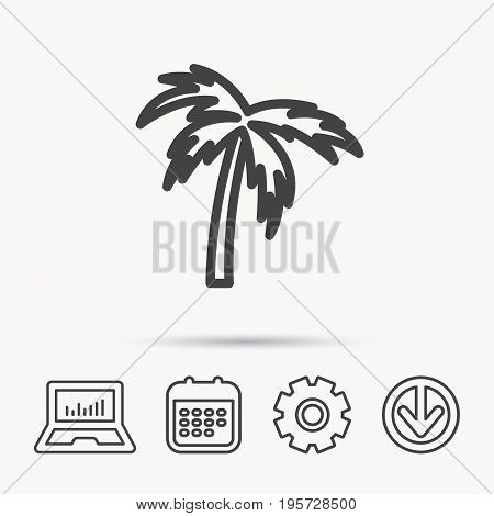 Palm tree icon. Travel or vacation symbol. Nature environment sign. Notebook, Calendar and Cogwheel signs. Download arrow web icon. Vector