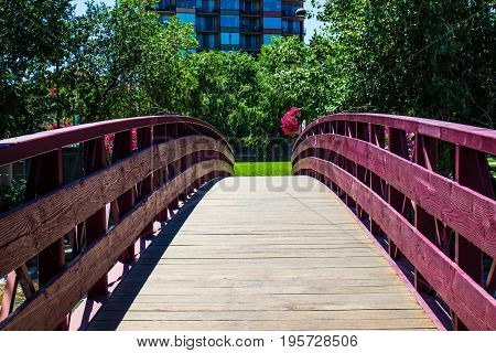 Wooden Walking Bridge Over Truckee River In Reno, Nevada