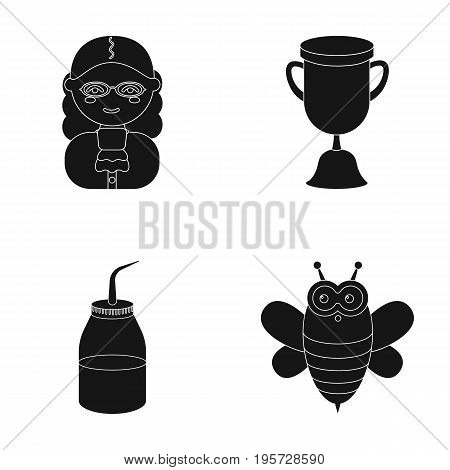 profession, accessories, equipment and other  icon in black style. useful, toy, honey, icons in set collection