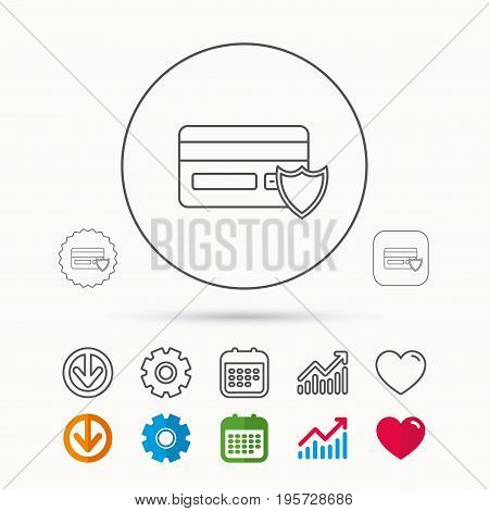 Protection credit card icon. Shopping sign. Calendar, Graph chart and Cogwheel signs. Download and Heart love linear web icons. Vector