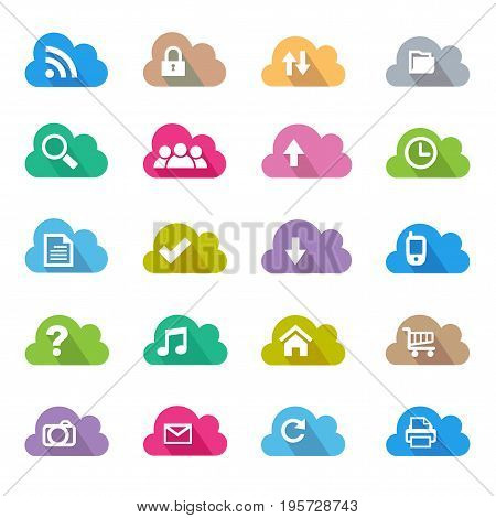 Cloud flat color icon set,simple and elegant Cloud flat color icon set