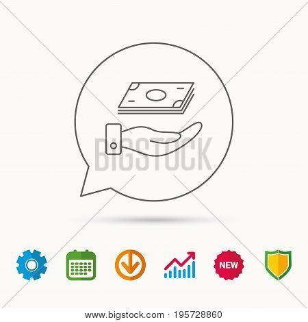 Save money icon. Hand with cash sign. Investment or savings symbol. Calendar, Graph chart and Cogwheel signs. Download and Shield web icons. Vector