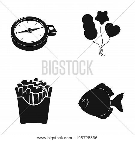 here, water, cafe and other  icon in black style.fast food, fish, icons in set collection.