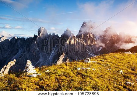 Stunning image of alpine rocky ridge. Location National Park Tre Cime di Lavaredo, Dolomiti, South Tyrol, Italy, Europe. Picturesque day and gorgeous picture. Explore the world's beauty and wildlife.