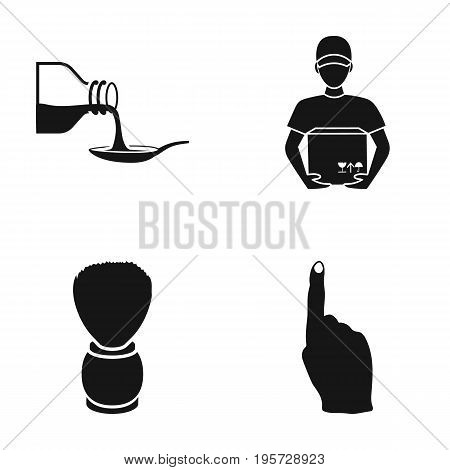 cafe, restaurant, hygiene and other  icon in black style.finger, pointer, news, icons in set collection